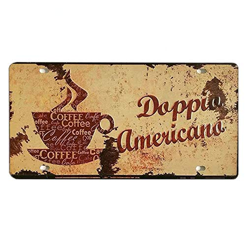 PotteLove Coffee Shop Car License Plate Frame Car Number Vintage Metal Signs Tin Plaque Wall Poster for Garage Man Cave Cafe Bar Pub Club Caffee Beer Patio Home Decoration -
