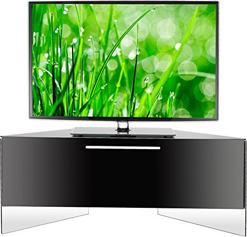 "MDA Designs Antares Remote Friendly Beam Thru High Gloss Piano Black 26""-52"" LCD/Plasma/LED Floating Corner Cabinet TV Stand"