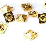 Weddecor Goldene, quadratische Pyramidnieten–Für Lederverarbeitung, Bastelprojekte, Taschen, Gürtel, Schuh-Deko, Kleidung, Jeans (100Stück), metall, gold, 7 mm