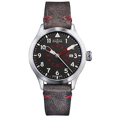 Davosa Swiss Neoteric Pilot 16156556 Men Wrist Watch Brown Leather Band, Black