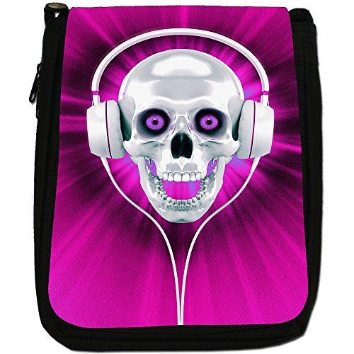Con teschio con cuffie, colore: nero, Borsa a spalla in tela da uomo, taglia media Pink Skull With Headphones