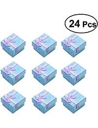 OUNONA 24pcs Organizadores de la joyería Cajas de regalo de almacenamiento para pendientes Collar de la