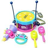 Giocattolo Di Formazione,WINWINTOM Toy Bambini Kit 5pcs Scherza Rullo Di Tamburi Strumenti Musicali Banda