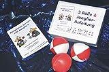 3 Bälle & Jonglier-Anleitung (rot-weiß, rot, rot-weiß): Jonglieren lernen mit Erfolgsgarantie