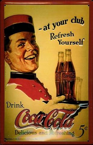 Blechschild Coca Cola at your Club Schild Nostalgieschild Coke retro Werbeschild