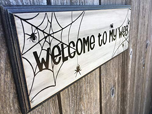 CELYCASY Holzschild mit Vinyl-Schriftzug Happy Halloween/Welcome to My/Our Web