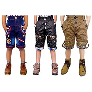 AD & AV Boy's Cotton Blend Relaxed Shorts Red and Black (Pack of 3)