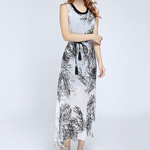 Hrph Mesdames Mode Vintage Deux Long Robe de Plage à Rayure Sans Manches O-Neck Slim Robe Une Pièce Simple Imprimé Fleur Blanc
