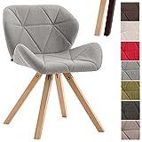CLP Design Retro-Stuhl TYLER, Bein-Form square, Stoff-Sitz gepolstert, Buchenholz-Gestell, Hellgrau, Gestellfarbe: Natura