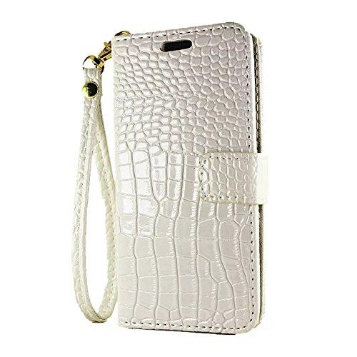 EKINHUI Case Cover Krokodil Muster PU Ledertasche, Horizontale Flip Stand Folio Wallet Holster Case Cover mit Lanyard & Card Slots für iPhone 7 ( Color : Green ) White