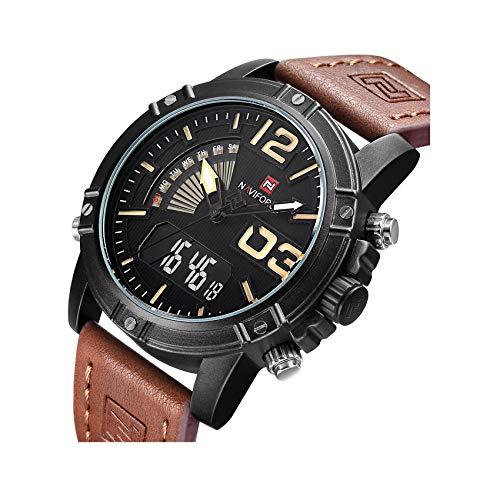TIMEWILL Herren Multifunktional Armbanduhr Analog Digital Quarz mit Braunes Leder Armband Leichte Hintergrundbeleuchtung Kalender Chronograph