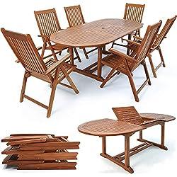 Deuba Sitzgruppe Vanamo 6+1 | 6 verstellbaren Stühlen | ausklappbarer Tisch - 2 x 1,0 m Länge | FSC®-zertifiziertes Eukalyptusholz [ Modellauswahl 4+1/6+1/8+1 ] - Sitzgarnitur Gartenmöbel Set