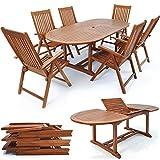 Deuba Sitzgruppe Vanamo 6+1 | 6 verstellbare Klappstühle | ausklappbarer Tisch 2x1,0m Länge | FSC®-zertifiziertes Eukalyptusholz - Sitzgarnitur Garten Garnitur Essgruppe Gartenmöbel Set