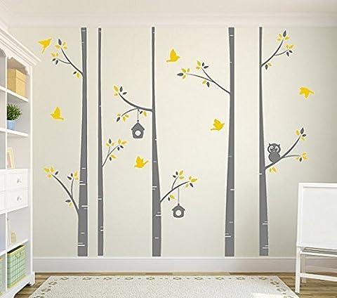 Big branche d'arbre avec chouette et oiseau amour sticker mural, ado filles garçons papier peint non-tissé Sticker mural Stickers Stickers Chambre Chambre Decor, Taille: 152,4x 203,2cm (150* * * * * * * * 200cm)