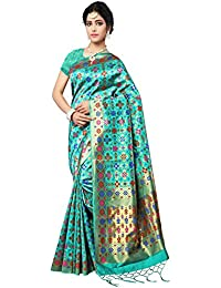MANVAA SEA GREEN COLOUR IN PATOLA SILK FABRIC WITH DESIGNER Weaving Saree With Blouse Piece