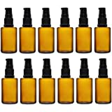 12 Sets Of 15ml Amber Color Round Glass Bottle With Lotion Pumpr & Cap – For Essential Oils, Blends, DIY Perfume...