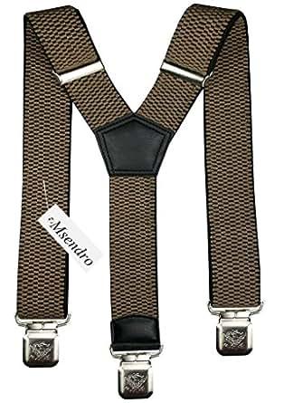 Hosenträger für Herren breit extra starken 4 cm mit 3er Clips Y-Form lange für Männer und Damen Hose alle Farben (Beige)