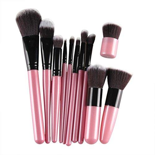 Kolylong Kit de Pinceau maquillage Professionnel 11 Pcs Brosse CosméTiques Pinceau De Maquillage Sets Kits Outils Brosse Visage Eyeshadow Brush rose