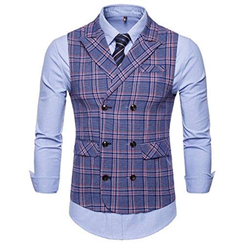 WWricotta Camisetas Hombre Sin Manga Traje Chaleco Chaqueta Cuadros Negocio Streetwear Casual Camisas