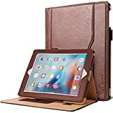iPad 2/3/4 Case, SAVFY [Business Series] Premium PU Leather Case Smart Auto Wake/Sleep Cover with Velcro Hand Strap, Card Slots, Pocket for iPad 2/ iPad 3/ iPad 4, Brown