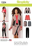 Simplicity 1324Größe U5Damenkleider Slim Hose Mock Wickelrock Jacke und Knit Top Schnittmuster