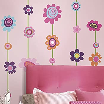 Marvelous RoomMates Repositionable Childrens Wall Stickers   Flower Stripe Part 8