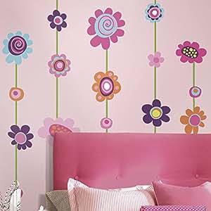 Jomoval RoomMates Stickers muraux repositionnables pour enfant (Fleurs)