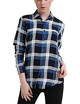 Dioufond Camisas Mujer Cuadros Manga Larga Camisa De Moda De Manga Larga Casual Camisetas