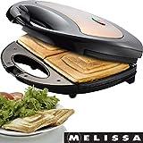Melissa 16240088 750 Watt Sandwichtoaster Sandwich-Maker mit antihaftbeschichteten Backplatten