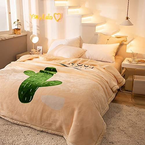 BXWQPP Simple Cactus Impresión Blankets for Bed Otoño Invierno Espesar Manta Sofa...