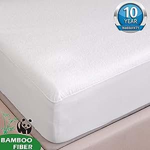 Tofern Protège Matelas Alèse Bambou 100% Imperméable Anti-acariens Antibactérien Respirant Ultra Doux Silencieux Résistant aux Lavages Forme Drap Housse 160x190/200
