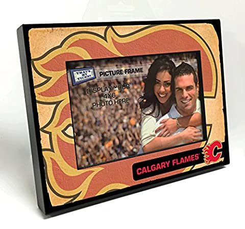 NHL Calgary Flames Vintage Look Wooden Picture Frame, Multicolor, 4
