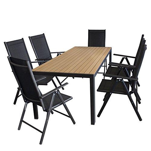 7tlg. Gartengarnitur Aluminium Polywood Gartentisch 205x90cm + 7-Positionen Hochlehner mit 2x2 Textilenbespannung Sitzgruppe Sitzgarnitur Terrassenmöbel Schwarz / Natur