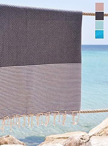 grande serviette de plage xxl - fouta XXL nid d'abeille - drap de bain grand format - meilleure vente - 100% coton de qualité supérieure - 100x200 cm - pas cher, légère, douce et absorbante - séchage rapide - grande taille - Modèle soft sensation très doux, couleur gris graphite avec bandes rayées blanches idéale pour homme ou femme - peu salissant