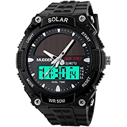 Mudder Men Sports Solar Power 50M Waterproof Outdoor LCD Movement Military Watch, Black
