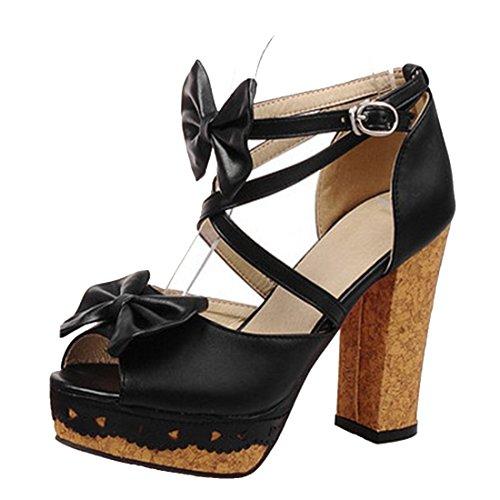 YE Damen Peep Toe Riemchen Blockabsatz High Heels Plateau Sandaletten mit Schnalle und Schleife Süß Sommer Schuhe Schwarz