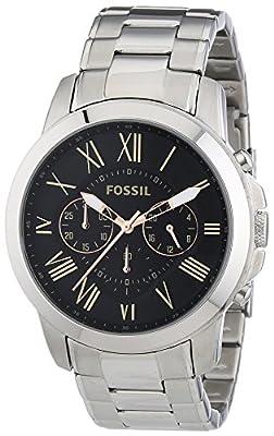 Fossil - Reloj de cuarzo para hombre, correa de acero inoxidable color plateado