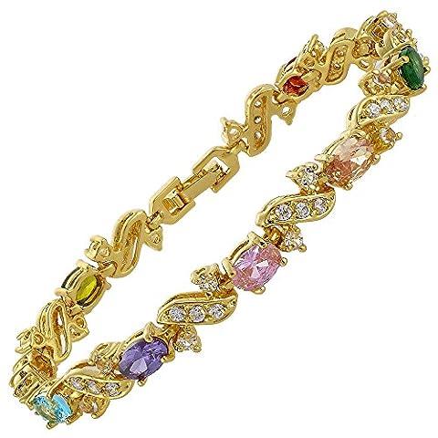 Riva Glitzer Trauung Schmuck 18K Gelbgold Vergoldet Mehrfarbig Geschenk Armband