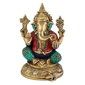 Collectible India Ganesh Statue Hindu God Ganpati Idol Brass Sculpture Showpiece Figurine Diwali Decor Gift