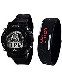 StarVilla Sports Watch Collections - Digital Black Dial Sports Watch & Unisex Silicone Black Led Digital Watch...