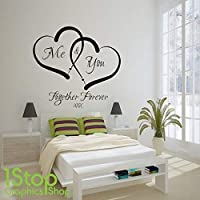 1Stop Graphics Shop - ME AND YOU LOVE HEART WALL STICKER QUOTE - HOME WALL ART DECAL X338 - Colour: Black - Size: Large