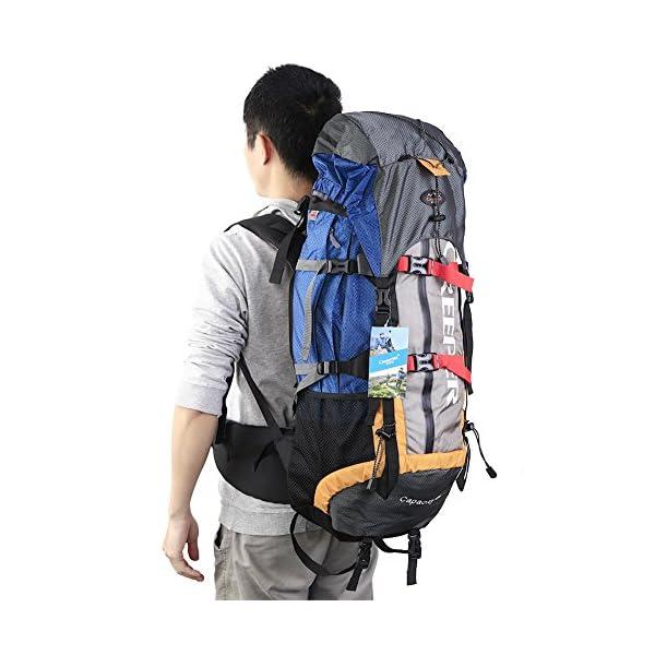 prezzo competitivo c0b8d 5eb95 Creeper Zaino Impermeabile 60 litri, Zaino Viaggio Trekking Unisex adulto  per Bici Escursionismo Alpinismo Arrampicata Campeggio Arancione