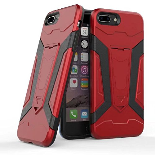 UKDANDANWEI Apple iPhone 7 Plus Hülle, 【Armor Man】Hybrid Armour Tough Stil Dual LayerDefender PC Bumper Handyhülle Cases mit Ständer [stoßfest Fall] für Apple iPhone 7 Plus - Schwarz Rot