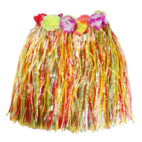 1pc Multicolor Kunststoff-Fasern Frauen Grass Skirts Hula Rock Hawaiian Kostüme Kinder Verkleiden Festliche & Party Supplies (Bunte, 30cm)