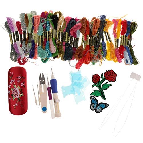 IPOTCH Stickerei Set Starter Kit Kreuzstich Set Tool Kit, 50 Farbfäden Punch Nadeln Kreuzstich Werkzeug Kits - Punch-stickerei-starter-kit