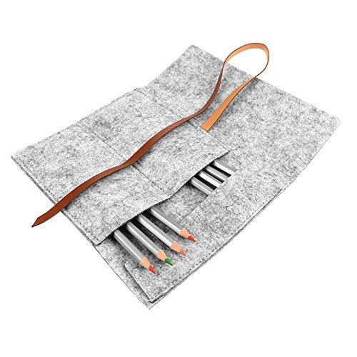 FORNORM Pinsel Kosmetische Tasche, Pinsel Tasche Make-up Etuis Kosmetiktasche Klein für handtasche, Filz & PU Leder, Bürsten nicht enthalten, Grau