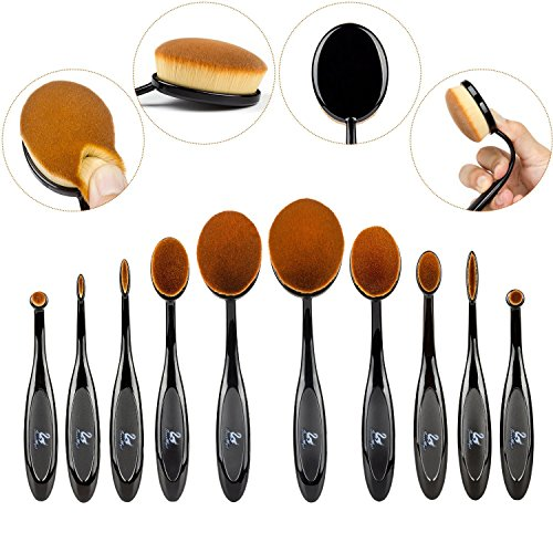 SwanMyst 10 Piece Soft Synthetic Fiber Oval Toothbrush Makeup Brush Set for Applying Foundation, Cream, Liquid, Contour, Powder, Blush, Concealer, Gift Box and Travel Pouch Included