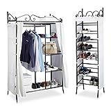 2 tlg. Garderoben Set COUNTRY, Kleiderschrank mit Stoffvorhang, Schuhregal, Stoffschrank, Schuhschrank, schwarz-weiß