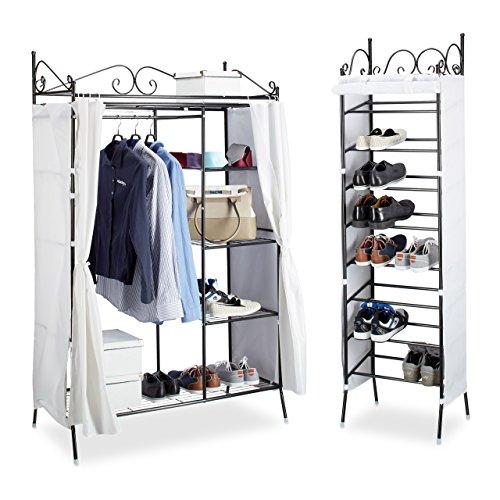 2 tlg. Garderoben Set COUNTRY, Kleiderschrank mit Stoffvorhang, Schuhregal, Stoffschrank,...