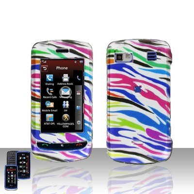 Colorful Zebra Snap on Hard Cover Protector Faceplate Skin Case for AT&T LG Xenon GR500 + Belt Clip (Shipped in Cardboard Box)